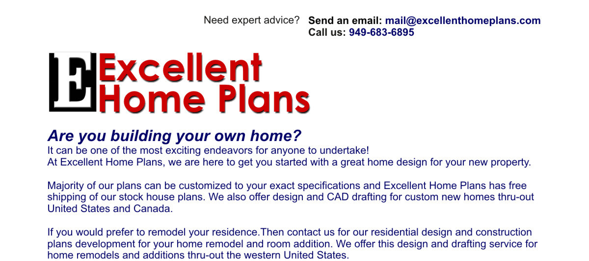 Excellent Home Plans, Residential Design & drafting of Stock Home Plans, Custom New Homes, Remodels, Room Additions